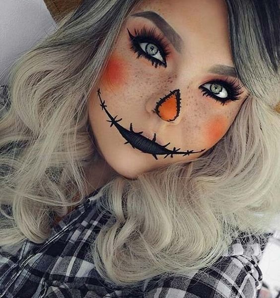 maquillage citrouille halloween