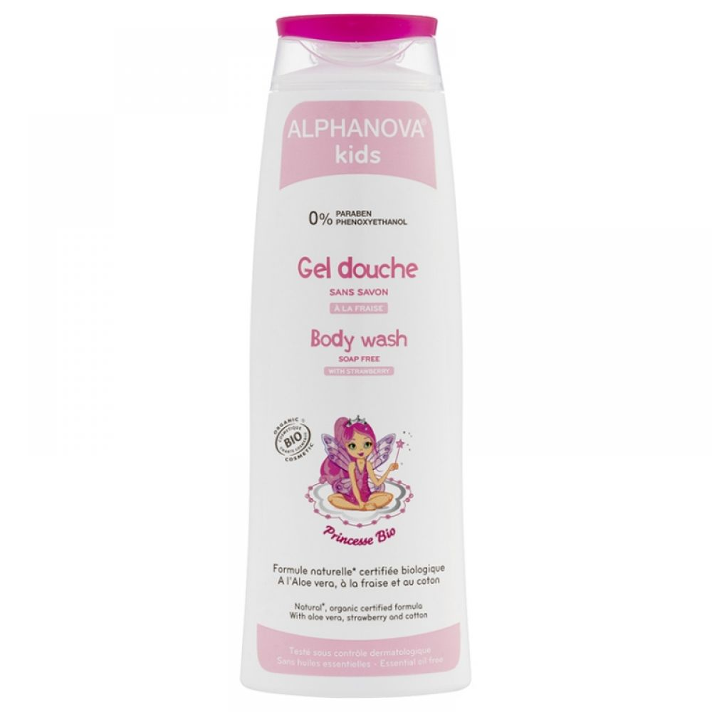 Alphanova Kids - Gel douche princesse à la fraise - 250 ml