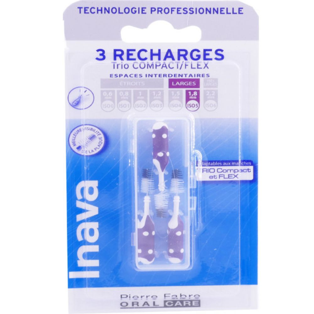 Inava - Brossettes interdentaires 3 recharges violet - Larges 1.8 mm