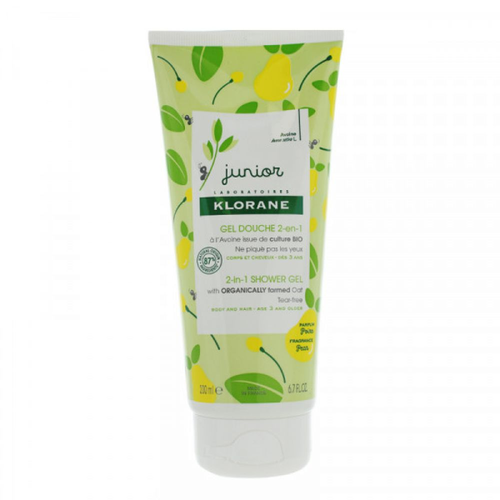 Klorane Junior - gel douche 2 en 1 parfum poire - 200 ml