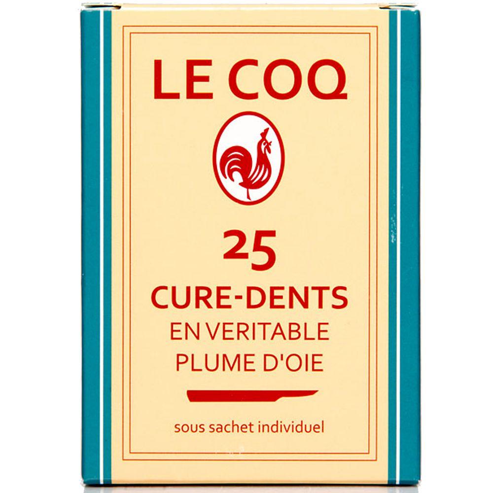 le coq cures dents en v ritable plume d 39 oie 25 b tonnets. Black Bedroom Furniture Sets. Home Design Ideas
