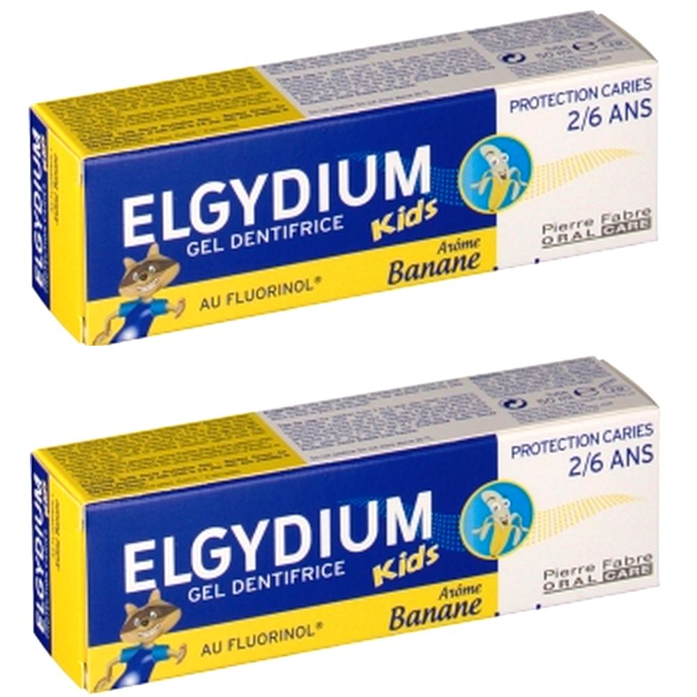 Elgydium - Gel dentifrice Kids Arôme banane 2/6ans - lot de 2 x 50ml