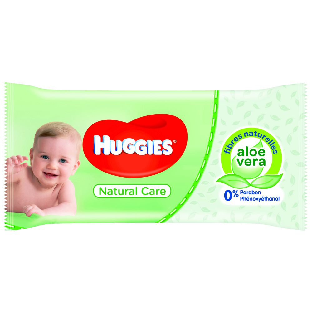 Huggies - Lingettes Natural Care Aloe vera - 56 lingettes