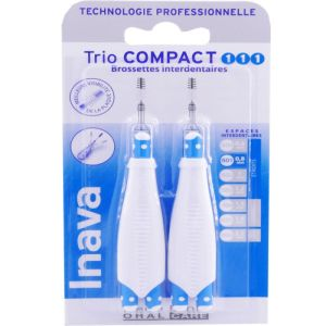 Inava - Trio compact bleu brossettes interdentaires - N°1 Étroits 0.8 mm