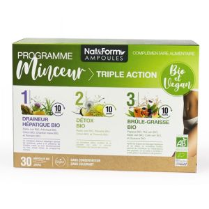 Nat & Form - Programme minceur triple action - 30 ampoules bio