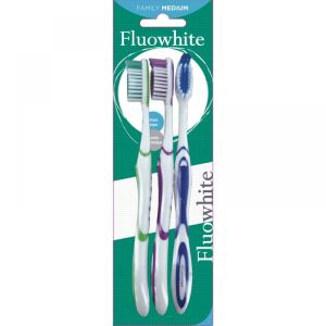 Fluowhite - Brosses à dents médium - Lot de 3