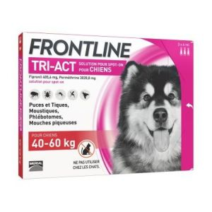 Frontline Tri-Act - Spot on chiens 40-60 kg - 3 pipettes