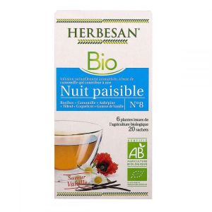 Herbesan - Infusion bio n°8 nuit paisible - 20 sachets