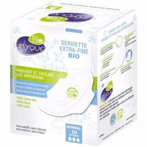 Unyque - Serviette Extra-fine Bio Normal - 10 serviettes