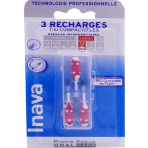 Inava - Brossettes interdentaires 3 recharges rouges - Larges 1.5 mm