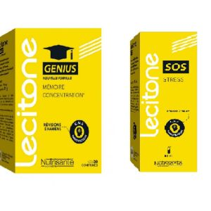 Lecitone - Pack exams SOS stress + Genius mémoire concentration - 15 ml + 30 comprimés