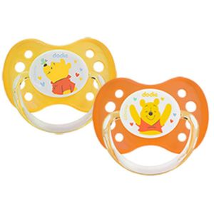 Dodie - Sucettes anatomiques 0-6 mois silicone Winnie l'ourson Disney Baby - 2 sucettes