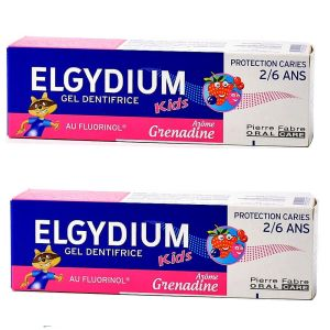 Elgydium - Gel dentifrice Kids Arôme grenadine 2/6ans - lot de 2 x 50ml